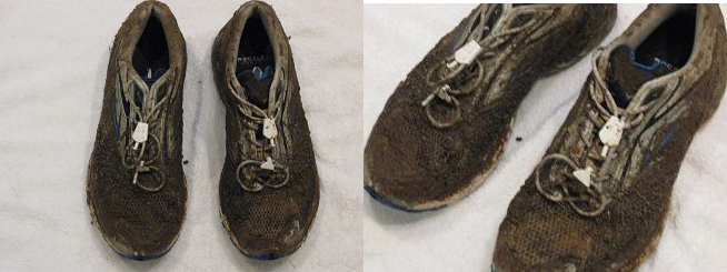Bill's Shoes after 12 hours of running in the mud