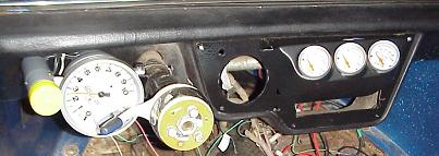 Dune Buggy Tachometer on left and remaing gauges on right of steering column