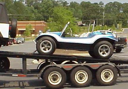 Blue Moon Dune buggy project car arrives on trailer