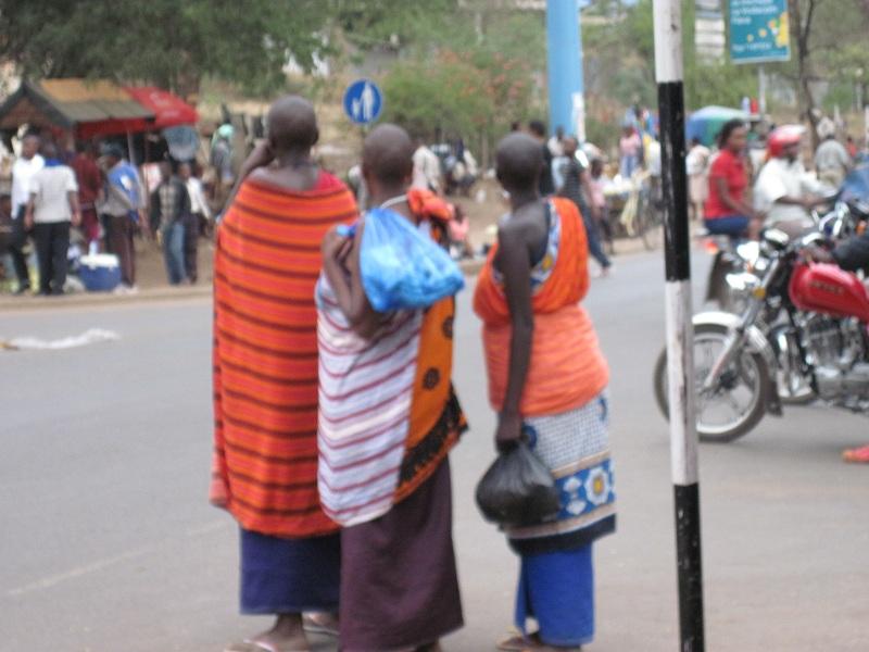 Some bush people roaming town.
